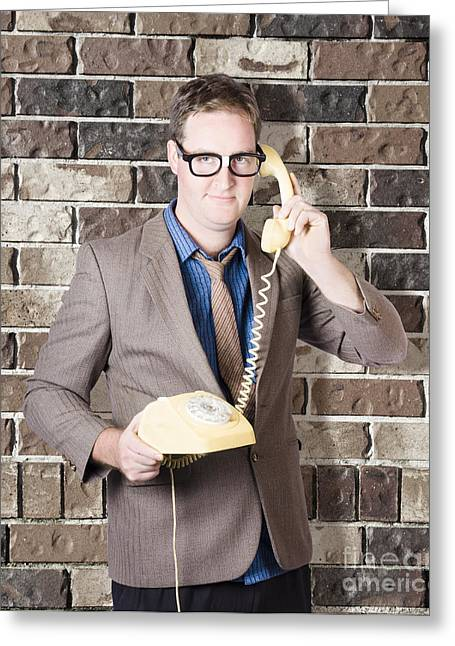 Humorous Male Nerd Chatting Business On Phone Greeting Card by Jorgo Photography - Wall Art Gallery