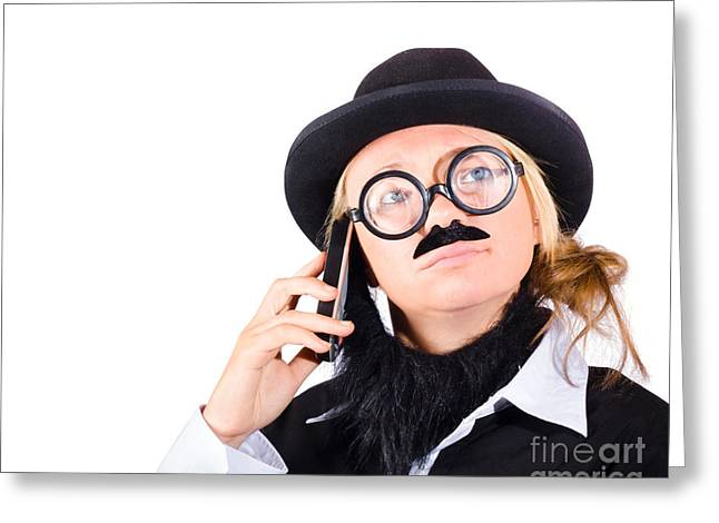 Humorous Worker With Mobile Phone Greeting Card