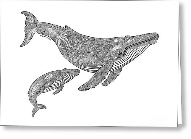 Whale Drawings Greeting Cards - Humpback and Calf Greeting Card by Carol Lynne
