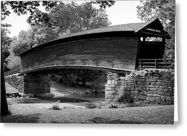 Humpback Bridge In Black And White Greeting Card by Karen Wiles