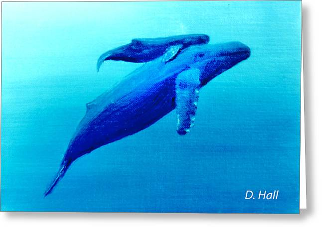 Humpback Mother Whale And Calf  #11 Greeting Card by Donald k Hall