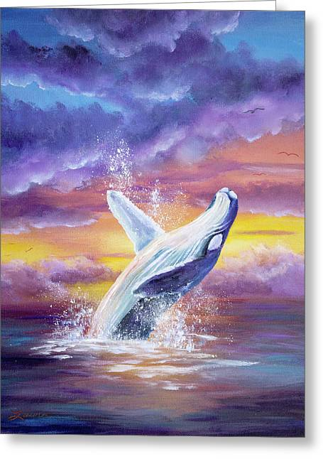 Humpback Whale In Sunset Greeting Card by Laura Iverson