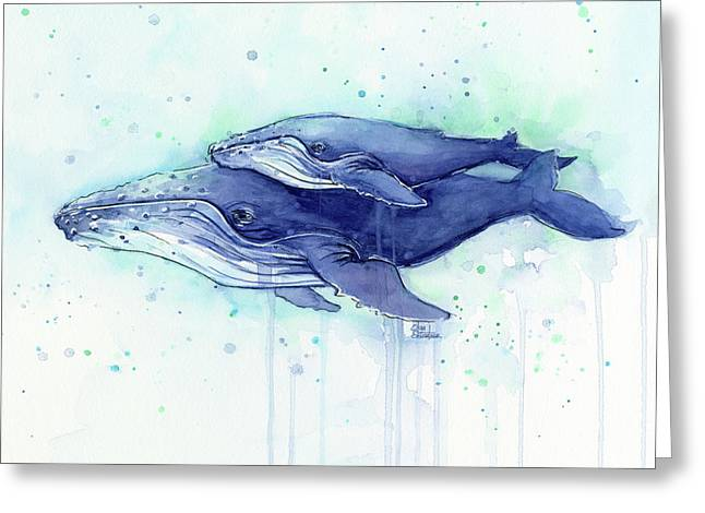Humpback Whale Mom And Baby Watercolor Greeting Card by Olga Shvartsur
