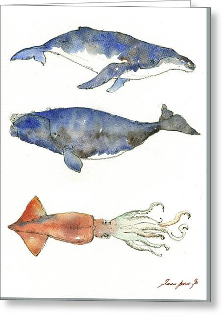 Humpback Whale, Right Whale And Squid Greeting Card