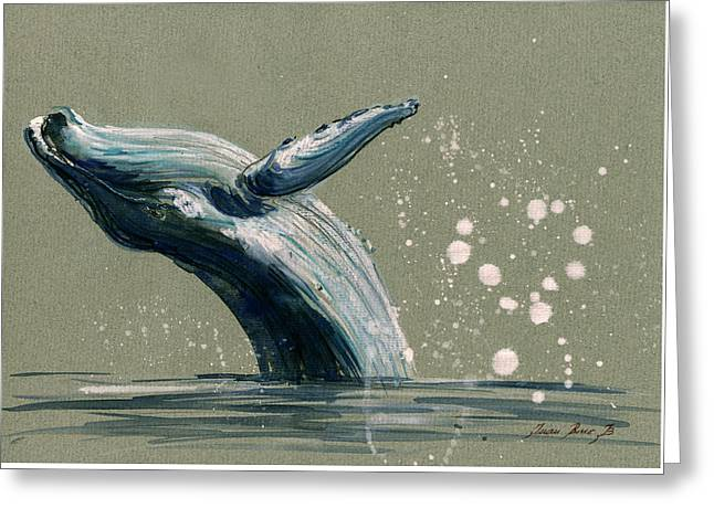Humpback Whale Swimming Greeting Card by Juan  Bosco