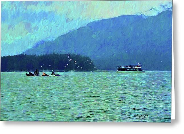 Humpback Whales Bubble Net Fishing Juneau Alaska Greeting Card