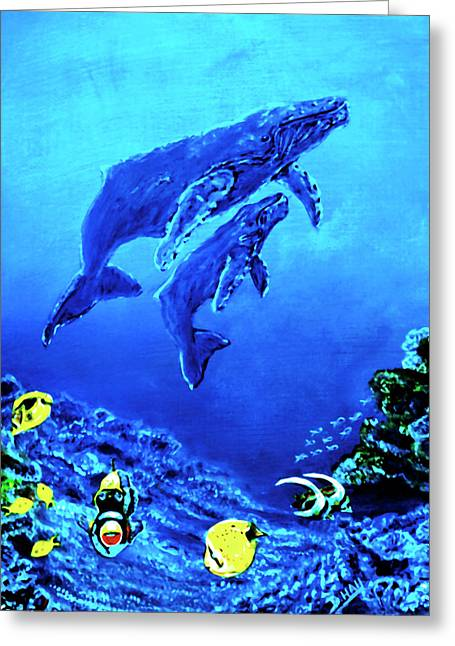 Humpback Whales Hawaii An Reef #14 Greeting Card by Donald k Hall