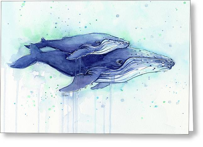 Humpback Whales Mom And Baby Watercolor Painting - Facing Right Greeting Card by Olga Shvartsur