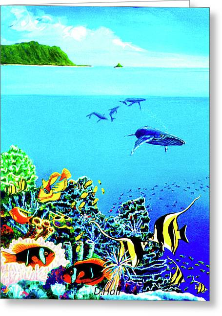 Humpback Whales, Reef Fish #252 Greeting Card by Donald k Hall