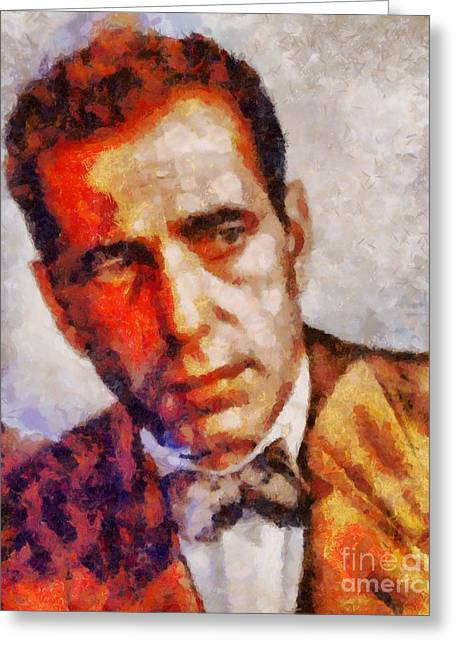 Humphrey Bogart Vintage Hollywood Actor Greeting Card by Sarah Kirk