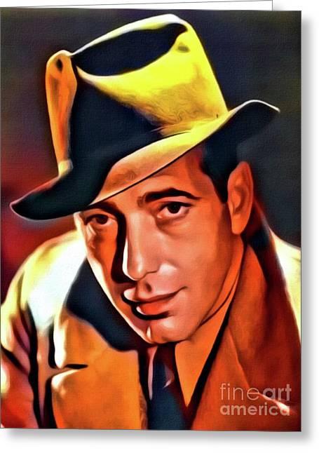 Humphrey Bogart, Vintage Hollywood Legend. Digital Art By Mb Greeting Card by Mary Bassett
