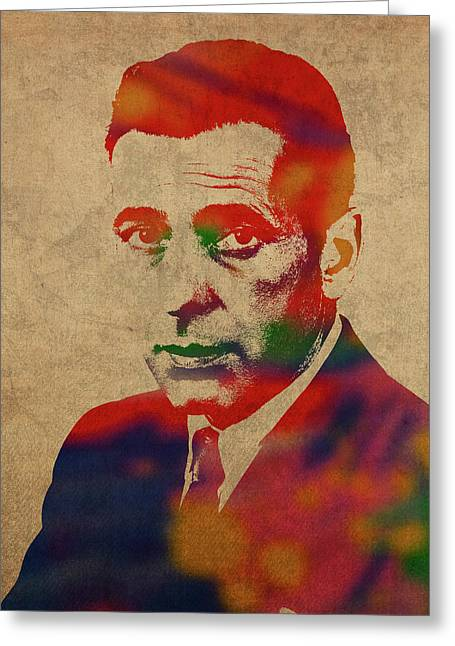 Humphrey Bogart Watercolor Portrait Greeting Card