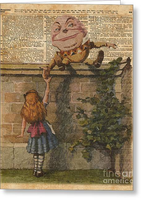 Humpty Dumpty Alice In Wonderland Vintage Dictionary Art Greeting Card by Jacob Kuch