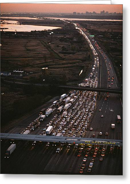 Middle Atlantic States Greeting Cards - Hundreds Of Cars Line Up To Pay A Toll Greeting Card by Melissa Farlow
