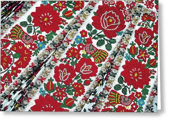 Hungarian Beaded Emboidery From Kalotaszeg Photograph Print Greeting Card