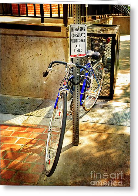 Greeting Card featuring the photograph Hungarian Conculate Bicycle by Craig J Satterlee