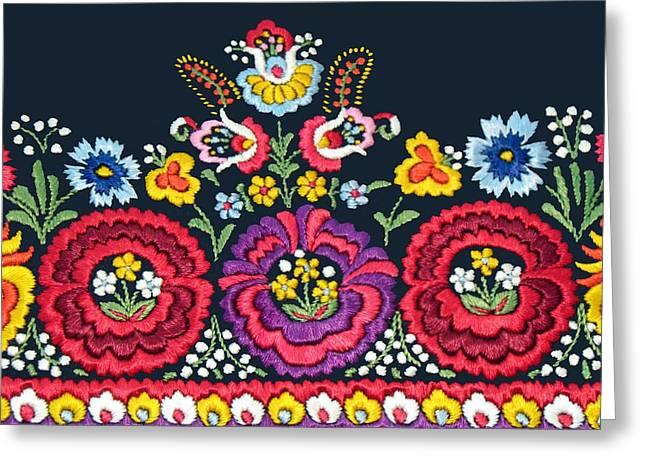 Hungarian Magyar Matyo Folk Embroidery Detail Greeting Card by Andrea Lazar