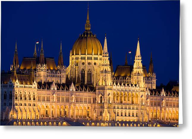 Hungarian Parliament By Night In Budapest Greeting Card by Artur Bogacki