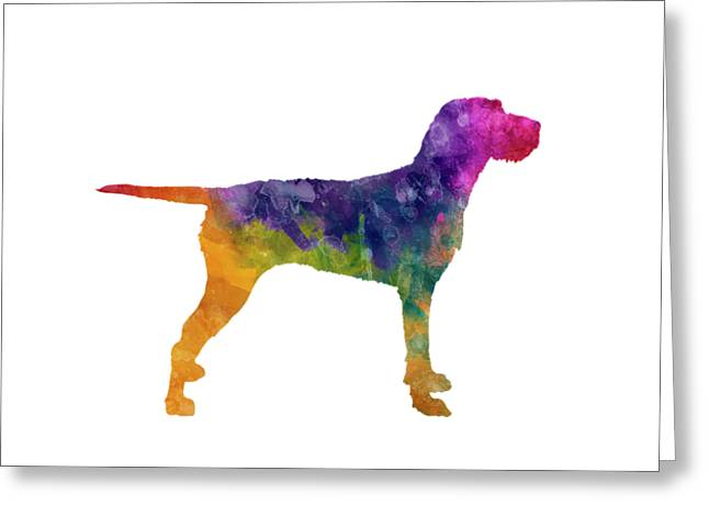 Hungarian Wirehaired Vizsla In Watercolor Greeting Card