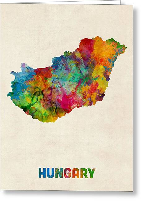 Hungary Watercolor Map Greeting Card by Michael Tompsett