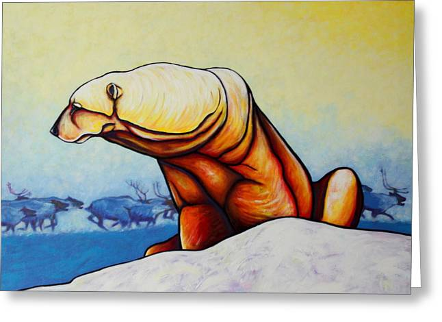 Hunger Burns - Polar Bear And Caribou Greeting Card by Joe  Triano