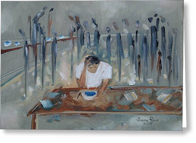 Hungry And Homeless Greeting Card by Judith Rhue
