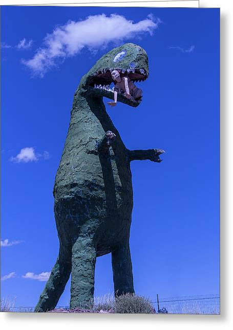 Hungry Dinosaur Head In The Clouds Greeting Card by Garry Gay