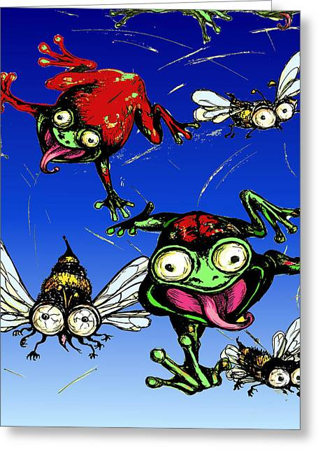 Flying Frog Greeting Cards - Hungry Frogs Greeting Card by Rae Chichilnitsky