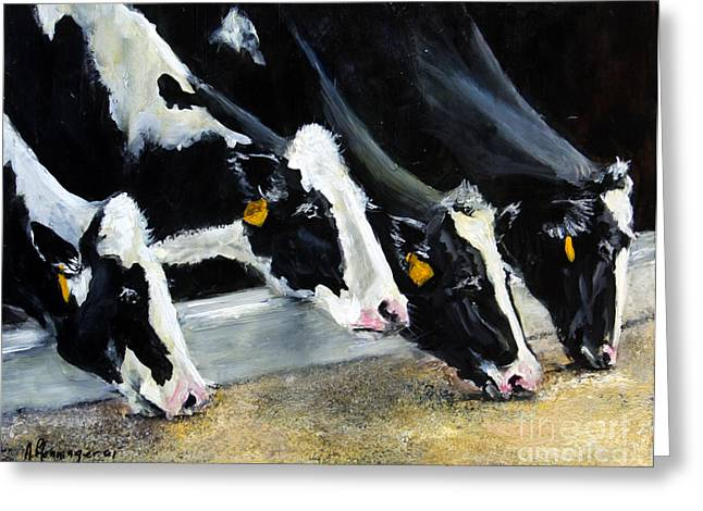 Hungry Holsteins Greeting Card