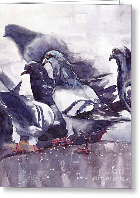 Hungry Pigeons Watercolor Greeting Card