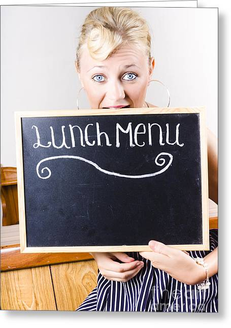 Hungry Woman Eating A Cafe Lunch Menu Greeting Card