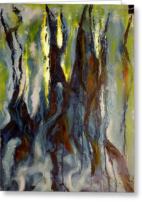 Greeting Card featuring the painting Hunted Forest by Nicolas Bouteneff