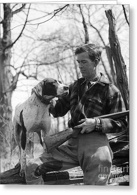 Hunter And Pointer Dog, C.1930s Greeting Card by H. Armstrong Roberts/ClassicStock