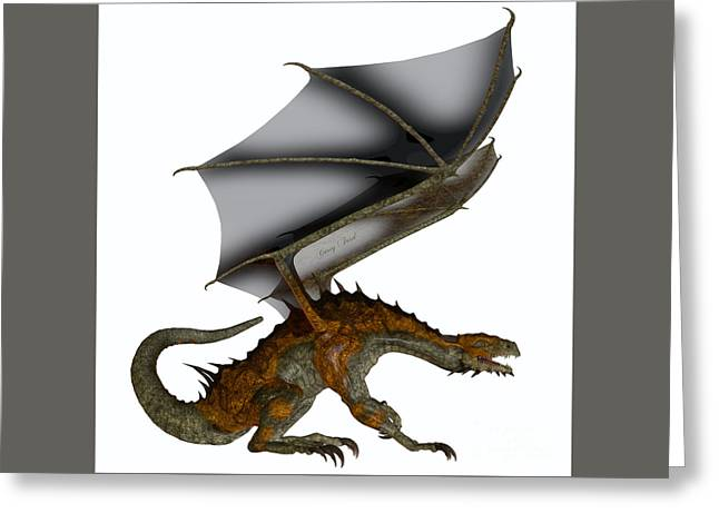 Hunter Dragon Profile Greeting Card by Corey Ford