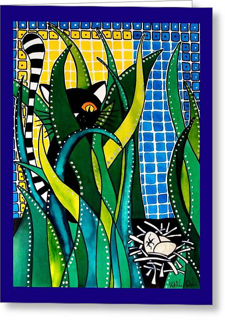 Hunter In Camouflage - Cat Art By Dora Hathazi Mendes Greeting Card