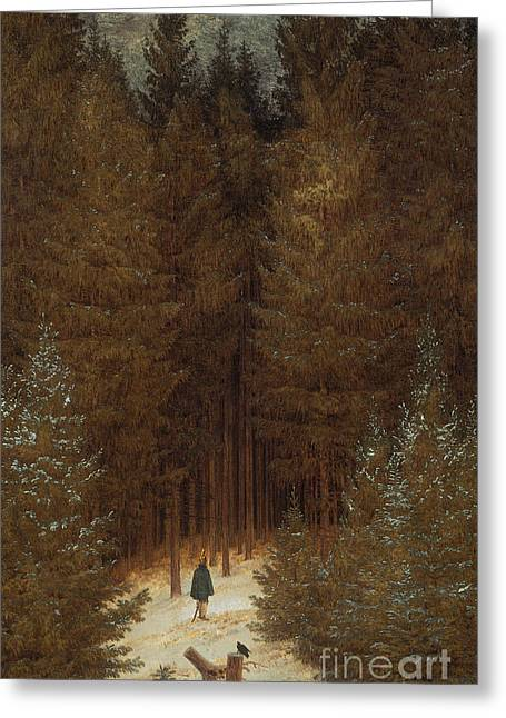 Hunting Greeting Cards - Hunter in the Forest  Greeting Card by Caspar David Friedrich