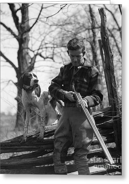 Hunter Loading Shotgun, C.1930s Greeting Card by H. Armstrong Roberts/ClassicStock