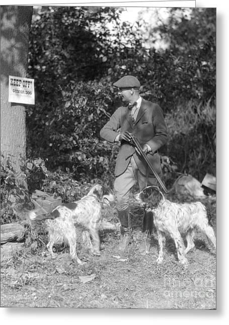 Hunter Reading No Hunting Sign, C.1930s Greeting Card