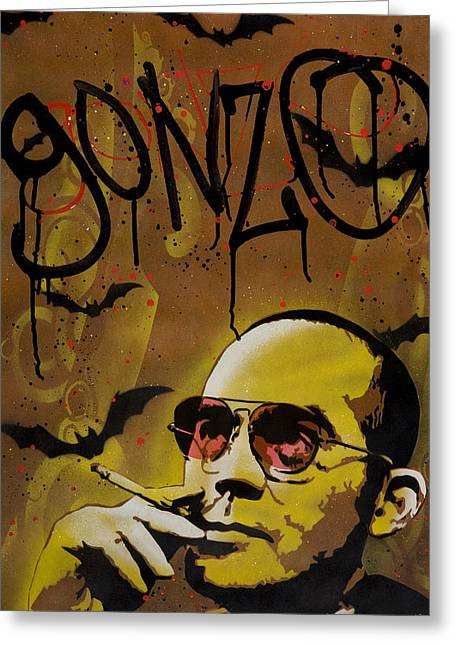 Stencil Spray Greeting Cards - Hunter S. Thompson Greeting Card by Iosua Tai Taeoalii