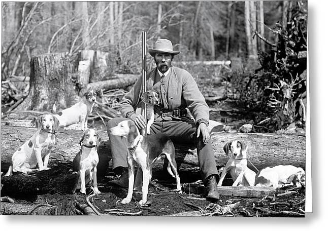 Hunter With 7 Beagle Dogs  C. 1880 Greeting Card