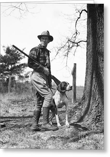 Hunter With Dog, C.1930s Greeting Card by H. Armstrong Roberts/ClassicStock