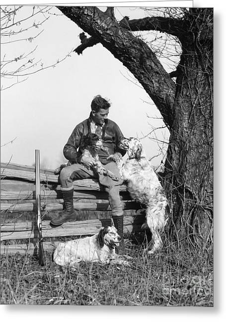 Hunter With Dogs, C.1920-30s Greeting Card by H. Armstrong Roberts/ClassicStock
