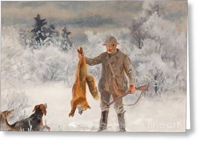 Hunter With Hounds And Fox Greeting Card by Celestial Images