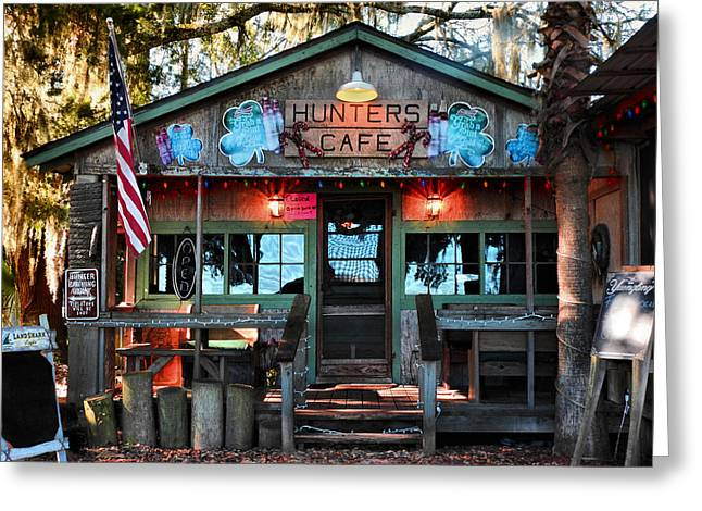 Hunters Cafe Greeting Card by Laura Ragland