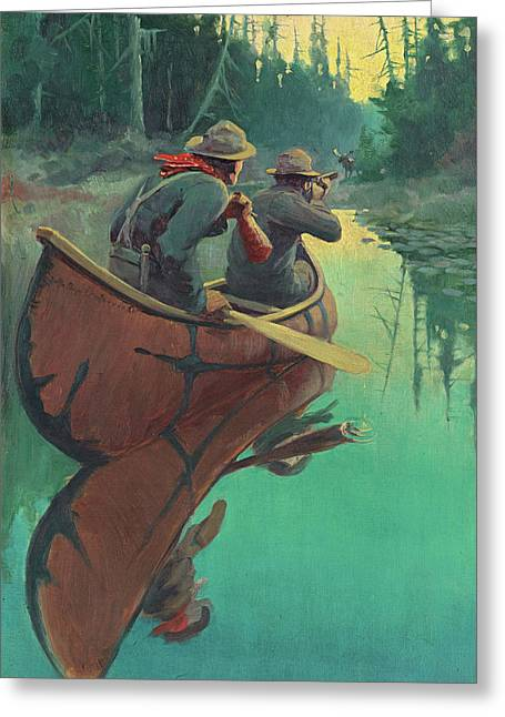 Hunters In A Canoe Greeting Card