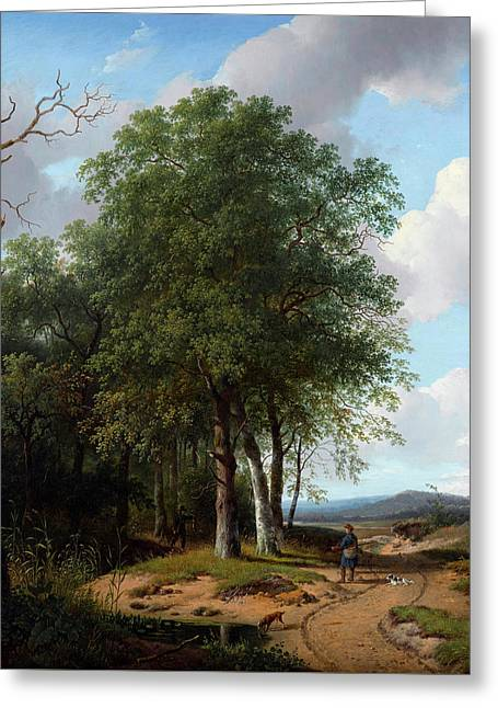 Hunters In A Wooded Landscape Greeting Card