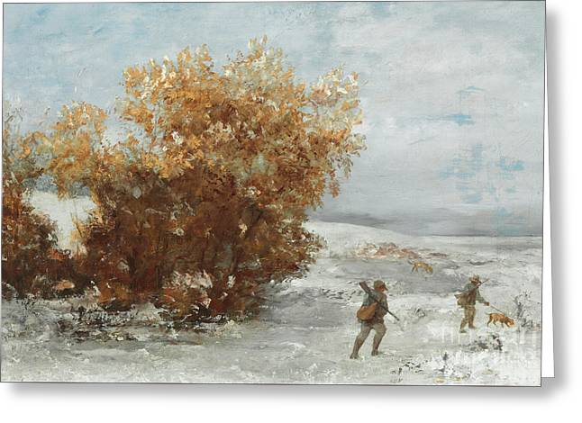 Hunters In The Snow  Detail Greeting Card