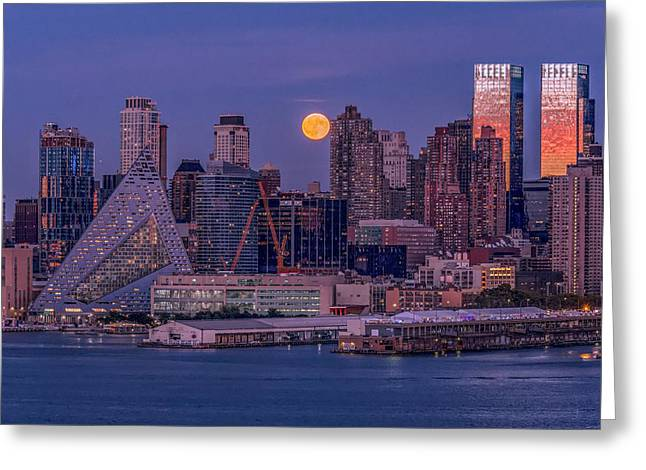Hunter's Moon Over Ny Greeting Card