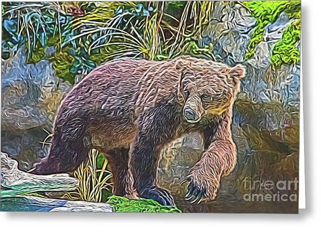 Greeting Card featuring the digital art Hunting Bear by Ray Shiu