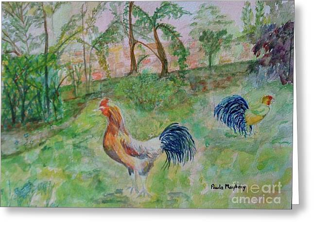 Hunting Cockerels Greeting Card